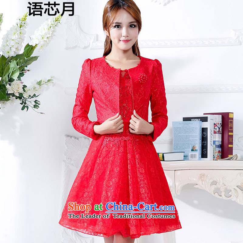 Language version of chipset 2015 engraving pearl lace tabs on back door bows Service Bridal bridesmaid two kits dresses wedding dresses marriage bon bon skirt female red 1592 XL