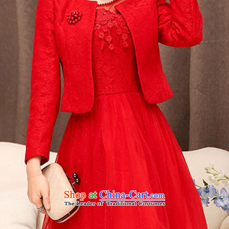 The law of the Korean version of Mary Kay autumn and winter flower sexy engraving lace bride back to the bows services bridesmaid Mun two kits dresses Wedding Dress Short, marriage bon bon skirt female redXXL, law, Manasseh (qi fash-modi) , , , shopping on the Internet