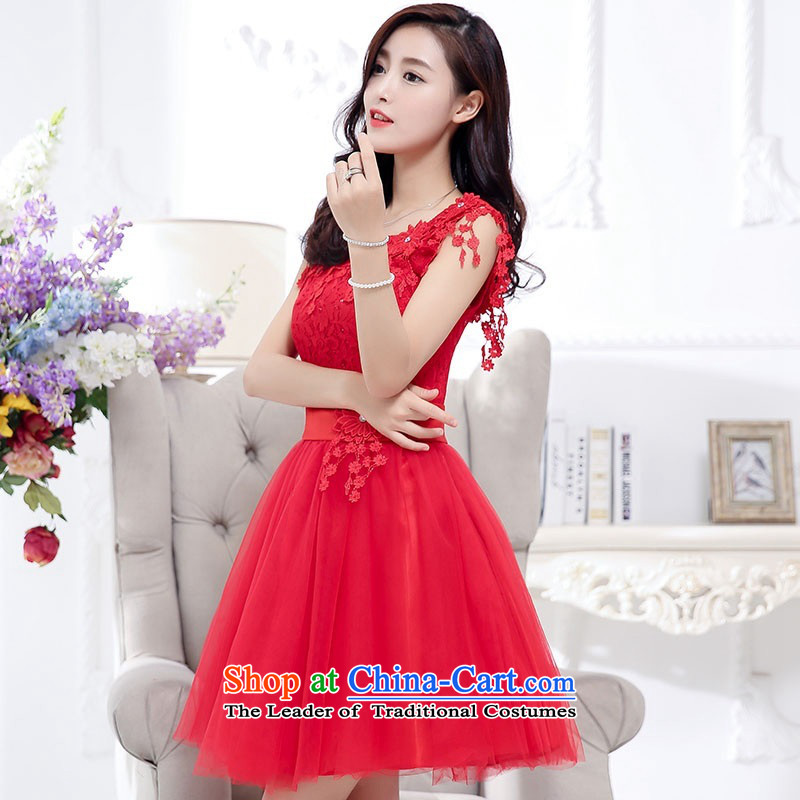 2015 Autumn and Winter, sweet wind in aristocratic long skirt dresses bon bon stylish Transfer round-neck collar princess skirt rabbit hair shawl two kits gauze dresses evening dresses red?S