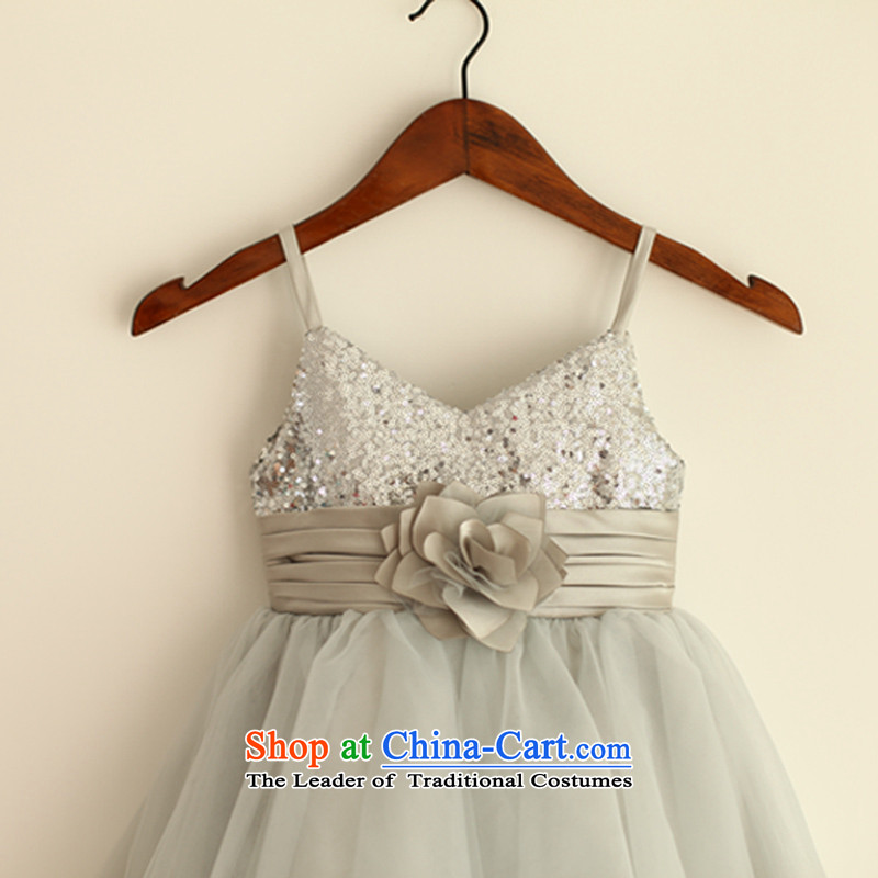 Mr. Guiss�2015 new smart stylish design on the strap material unilateral decorative waistband Flower Girls dress white customization