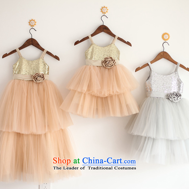 Mr. Guiss��?2015 new stylish design on the lovely strap material unilateral double gauze petticoats flower children's wear dress light gray?5-year-old