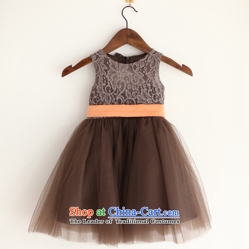 Mr. Guissé?2015 New Lei mesh yarn design orange decorative waistband Decorated flowers of children's wear dresses brown?6 Months