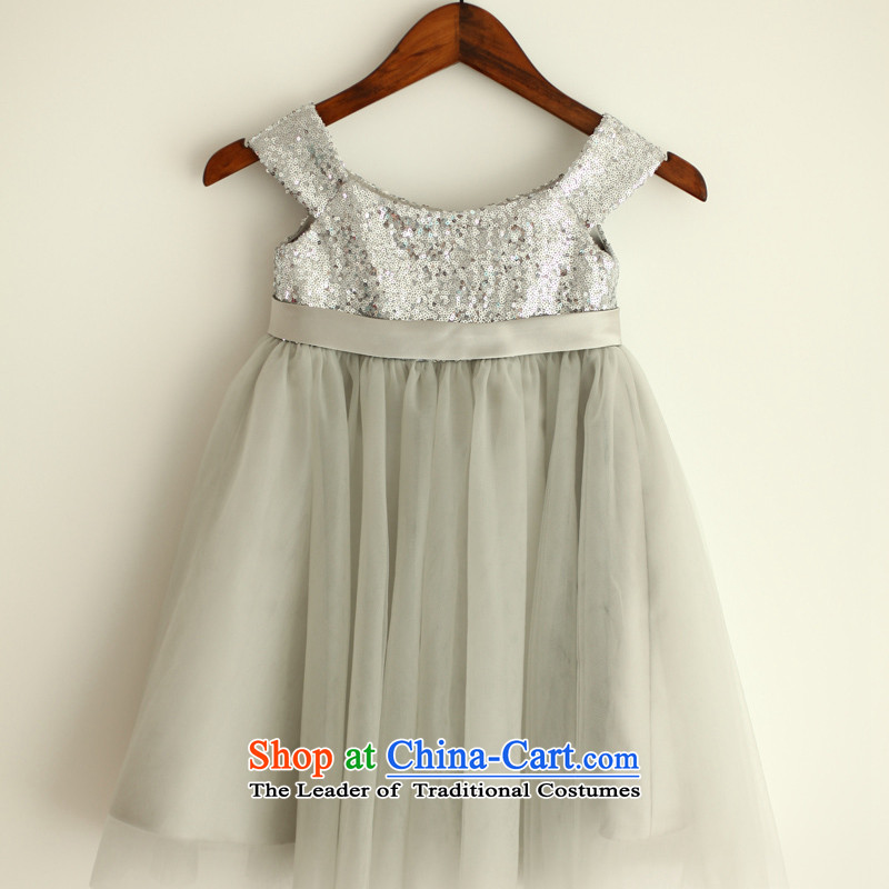 Mr. Guiss�2015 new word on chip chiffon shoulder fabric flower children's wear dress Light Gray�7 years