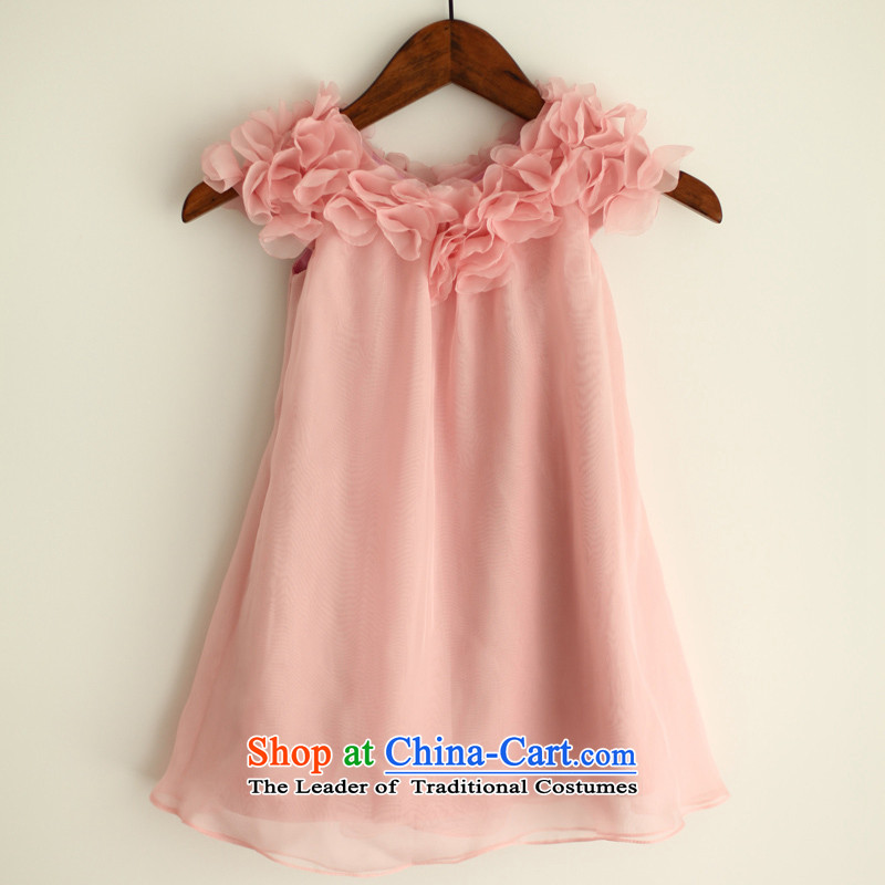 Mr. Guiss��?2015 new pink floral decor and simple lovely floweret field shoulder children's wear pink dresses?4 years
