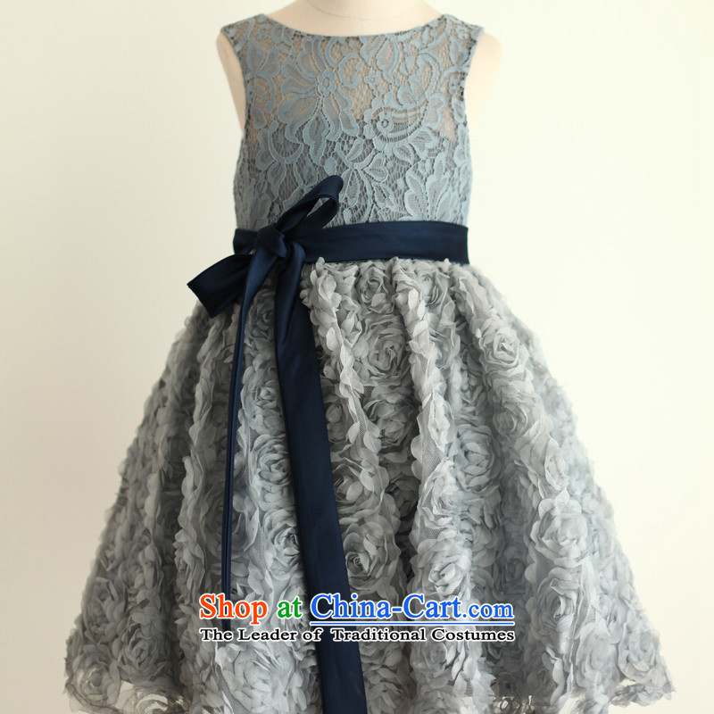 Mr. Guiss��?2015 new sleek lace small floral decor flowers of children's wear skirt as small dress blue-gray?6 Years +