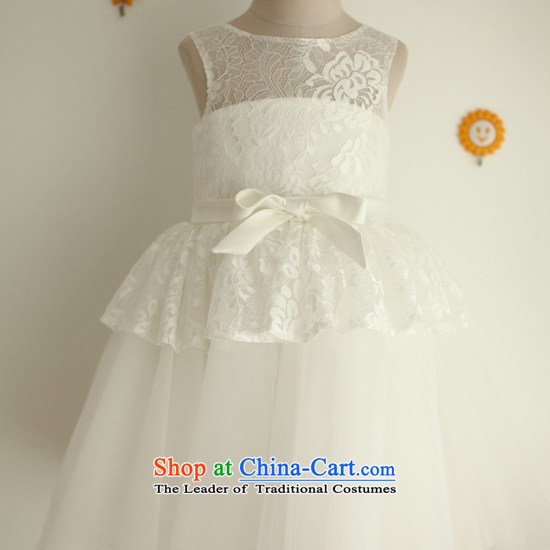 Mr. Guiss�2015 new elegant decorative lace bow tie waist craftwork flower white�4-year-old children's wear dresses