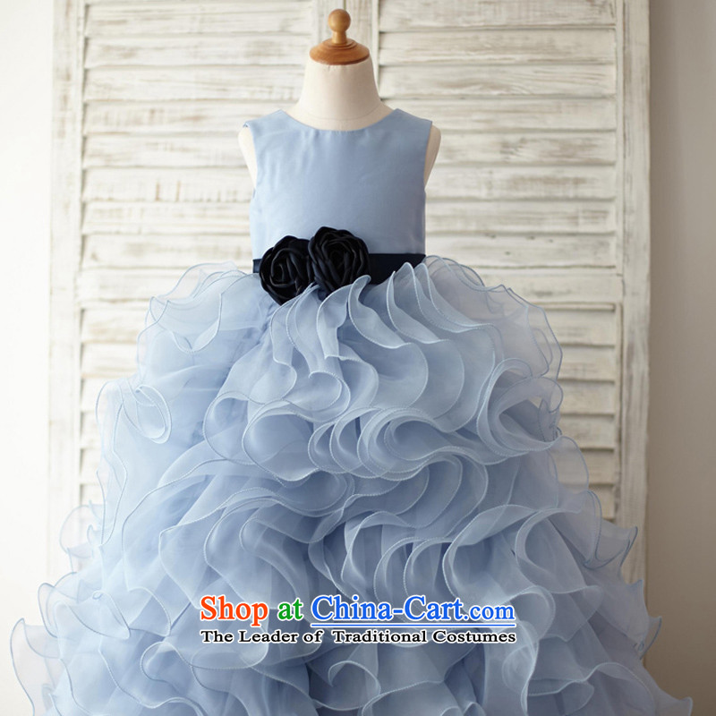 Mr. Guissé?2015 new stylish lovely princess skyblue OSCE root gauze large billowy flounces petticoats flower children's wear dresses, blue?18 Months