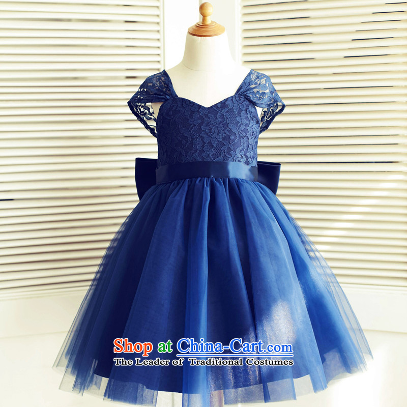 Mr. Guiss�2015 new ground shoulder lace shoulder strap design decorative waistband spend blue�6-year-old children's wear dresses