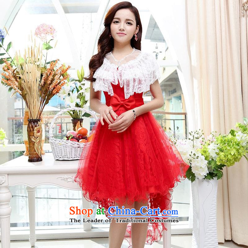 Upscale dress2015 Summer new anointed chest dresses Dress Short long after the former bon bon skirt wrapped scoops gentlewoman wedding dress in long redXL