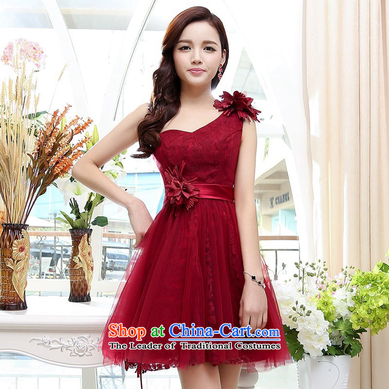 Click the shoulder dress upscale lace princess skirt 2015 summer is elegant and modern dresses wedding dresses wedding dress bon bon wine red XL