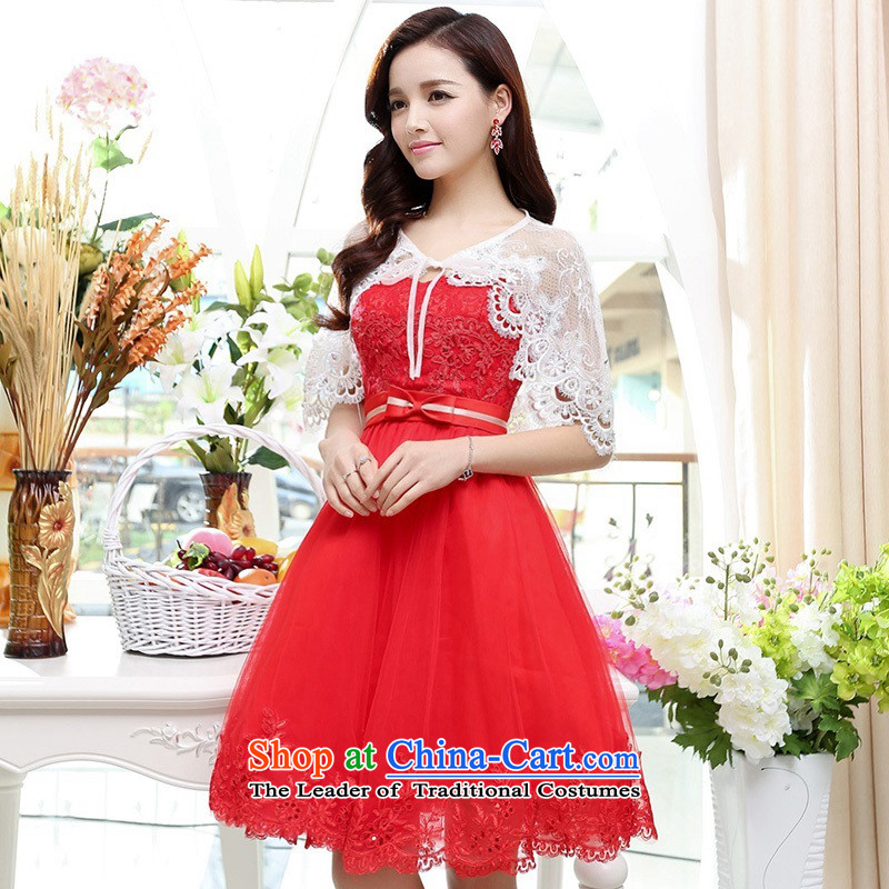 Upscale dress wiping the chest dresses dress Summer 2015 new wrapped chest lace bon bon skirt bridesmaid princess skirt banquet wedding dress red?S