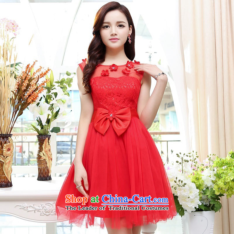 Upscale dress lace round-neck collar dresses sleeveless dress bon bon skirt 2015 Summer New flower bud skirt wedding dress bridesmaid skirt princess red?L