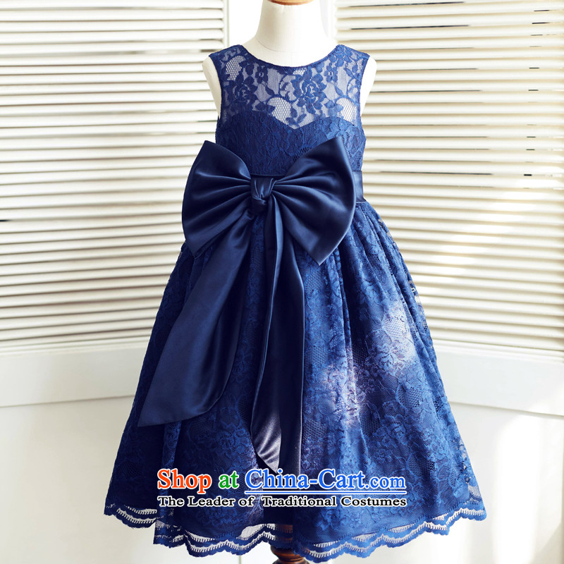 Mr. Guissé?2015 new stylish and elegant lovely decorative lace bow tie children spent?8 years old blue dress