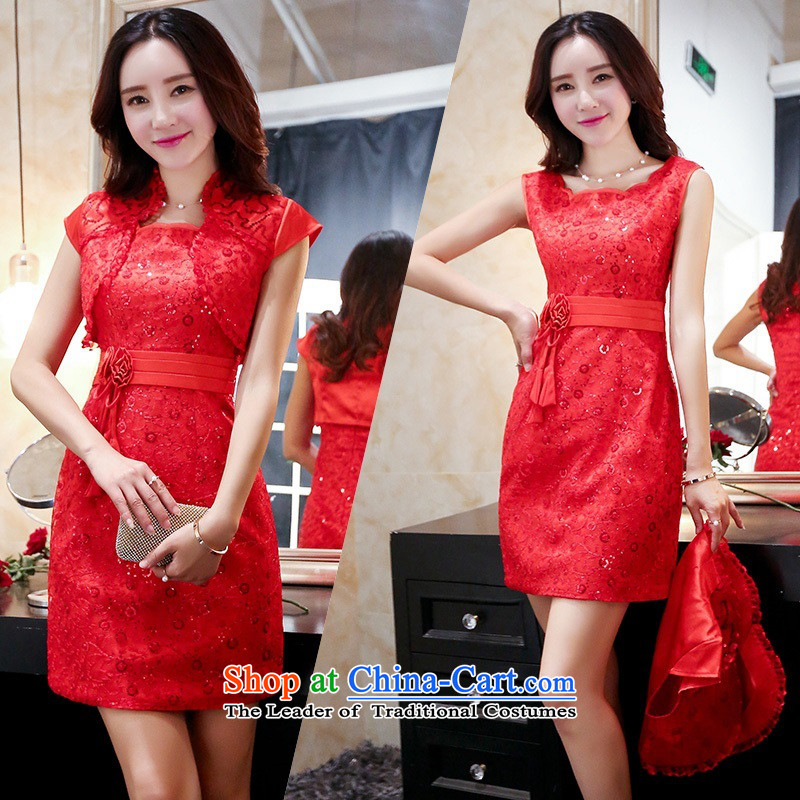 Upscale dress bridal dresses cheongsam dress kit skirt large red dress package and small shawl two kits bows services bridesmaid skirt red?L