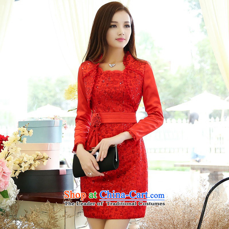 2015 Autumn and Winter Ms. new large red two kits bridal dresses evening dresses and stylish Sau San Video Foutune of bride skirts thin banquet bows services 1 color photo of Princess skirtL