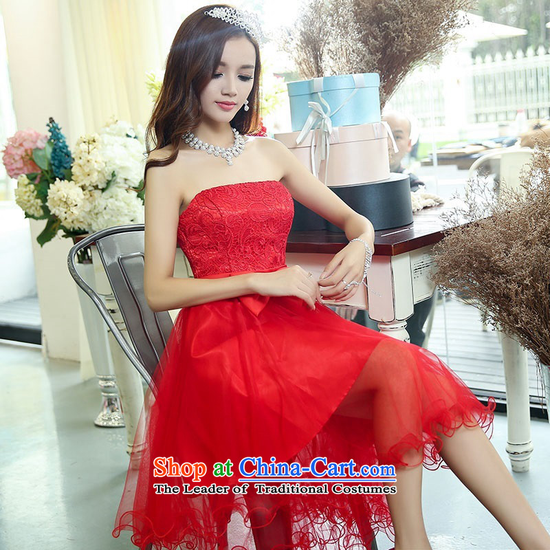 2015 Autumn and Winter Ms. candy colored new anointed chest lace bridal dresses evening dresses Sau San video bridesmaid service banquet thin performances dress sweet princess skirt 1 RED?M