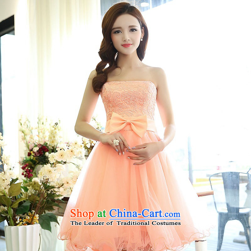 2015 Autumn and winter new temperament gentlewoman anointed chest lace dresses evening dresses Sau San video thin foutune gauze stitching bon bon skirt rabbit hair shawl two kits princess skirt pink L