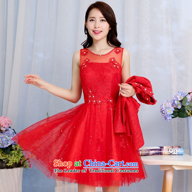 2015 Autumn and Winter Ms. new large red bridal dresses two kits evening dress the yarn round-neck collar flowers adorned in long skirt Princess Bride Skirts 1 RED?M