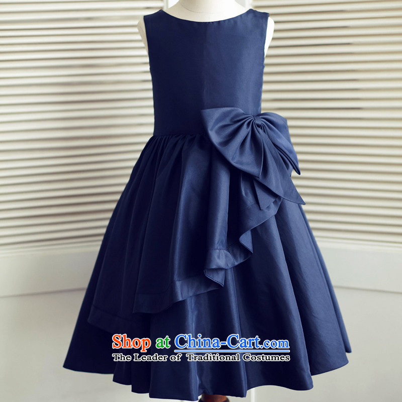 Mr. Guiss茅聽2015 New Blue Tower poplin simple decorated lovely bow tie asymmetric petticoats flower children's wear dresses Blue聽6 years