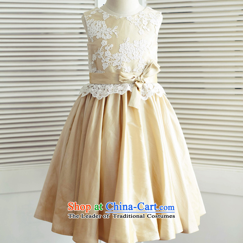 Mr. Guiss��?2015 new lovely decorative lace waist flower children's wear dresses nude?10 years old