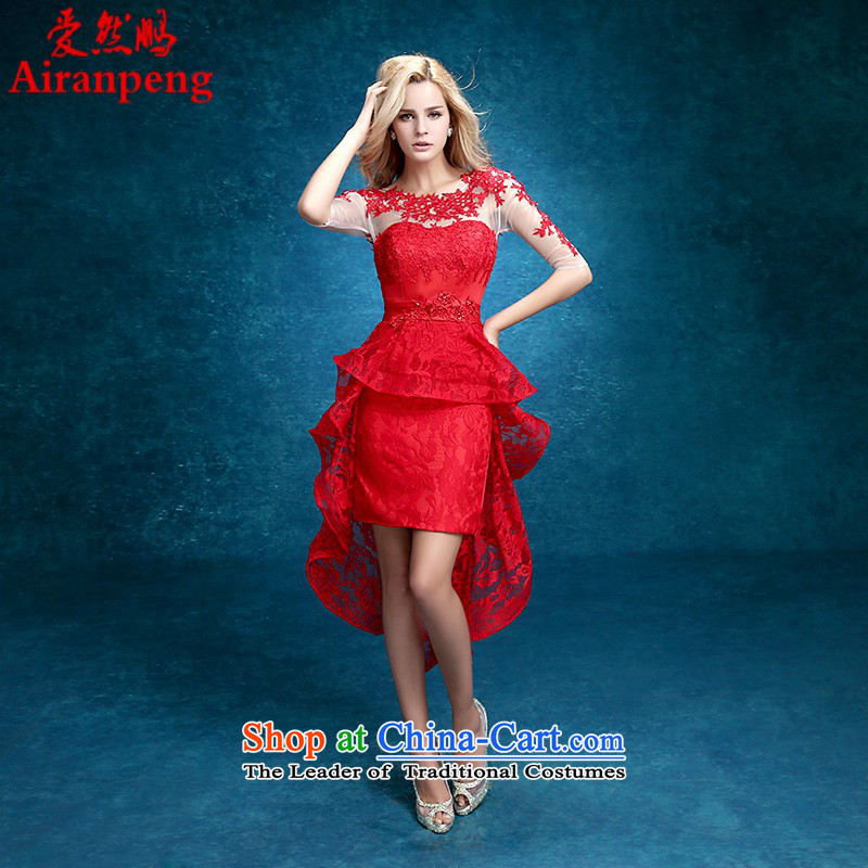 After the short length of the former Service Bridal Winter 2015 bows new stylish short-sleeved red) Wedding Dress Female dress?XL