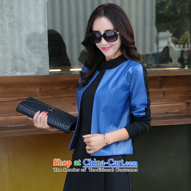 The 2015 autumn and winter new women's two kits dresses temperament long-sleeved OL Kit Sau San skirt early autumn leather jacket pure color small Heung-dresses 2 Blue�M