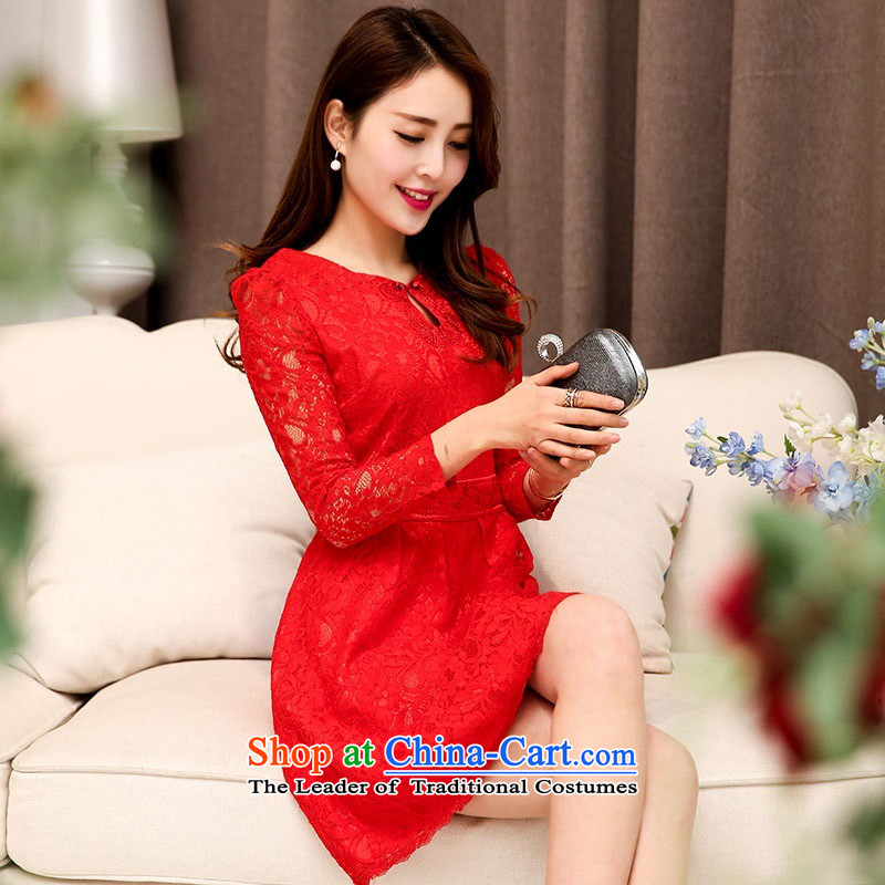 2015 Autumn and Winter Ms. New Red Chinese collar long-sleeved bridal dresses evening dresses Sau San video thin Foutune of Princess Bride skirt lace hook flower bon bon Skirts 1 redL