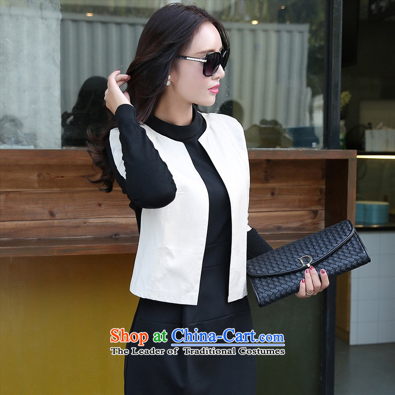 The 2015 autumn and winter new women's two kits dresses temperament long-sleeved OL Kit Sau San skirt early autumn leather jacket pure color small Heung-dresses 2 White?M