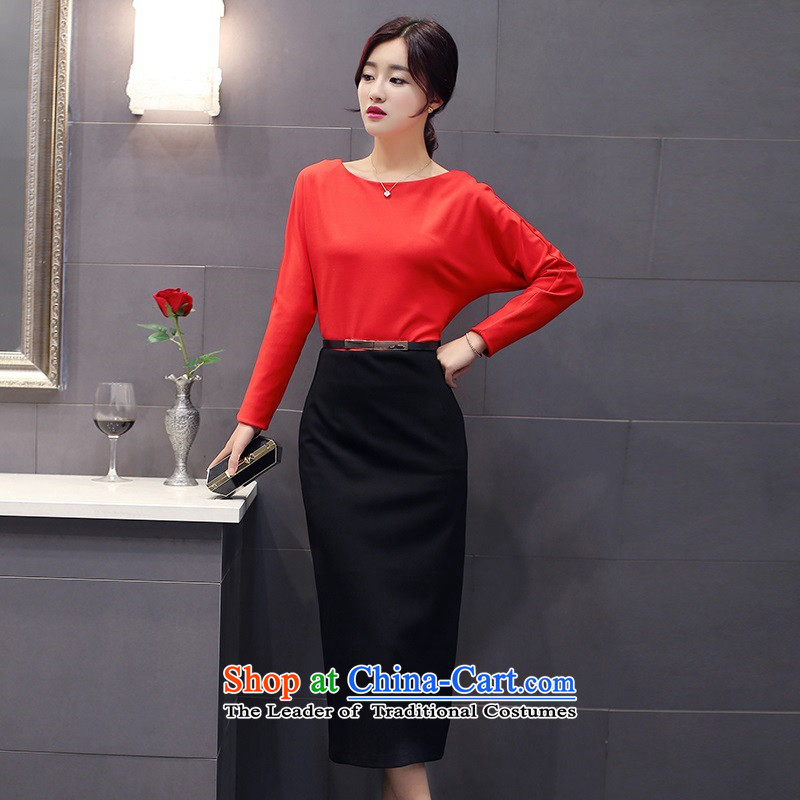 The 2015 autumn and winter Ms. new Korean Top Loin step pure colors skirt Sau San round-neck collar long skirt waistband with Europe and the trendy commuter 2 gray M