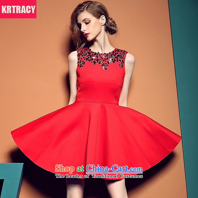 Krtracy2015 autumn and winter new sleeveless on-chip high-waist bon bon skirt red dress uniform red dress BLLS6312 bows Red?2XL