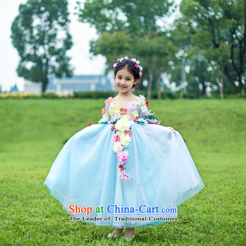 Tim hates makeup and the new parent-child with mother and replace the girl child and of children's wear skirts Princess Flower Fairies  children dress bon bon skirt Flower Girls wedding dresses Flower Fairies  dress flower children's wear blue�130CM