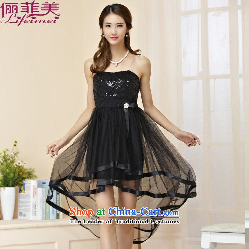 Payment on delivery to the Philippine beauty with thick MM wiping the evening banquet receptions chest dovetail double show small black?XL suitable for 115-130 dress catty
