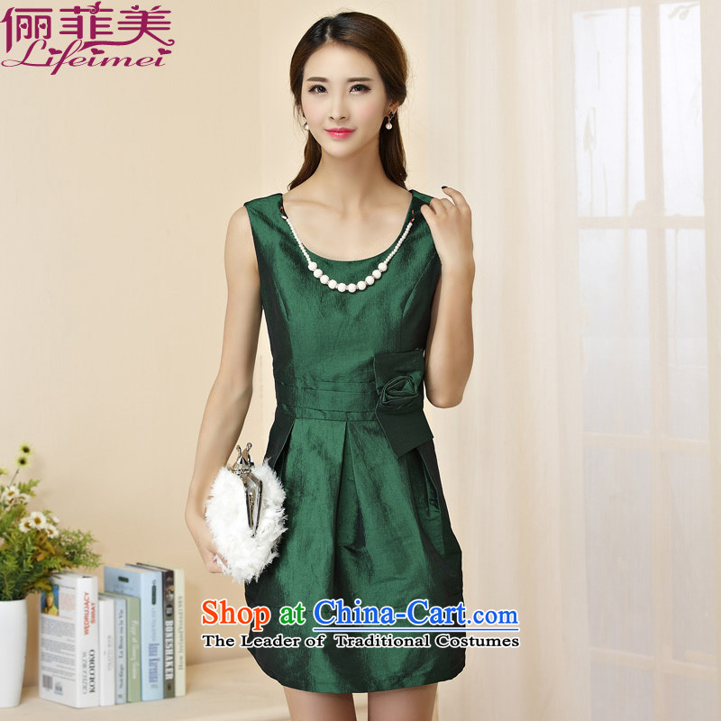 C.o.d. 158 and the summer female round-neck collar manually kidney Top Loin of large Sau San botanists dresses small dress green�L