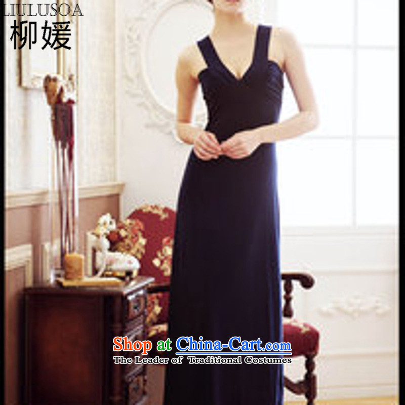 Yoo Won Korean female new V-Neck back dress (for a total of three color) 611 Blue are code