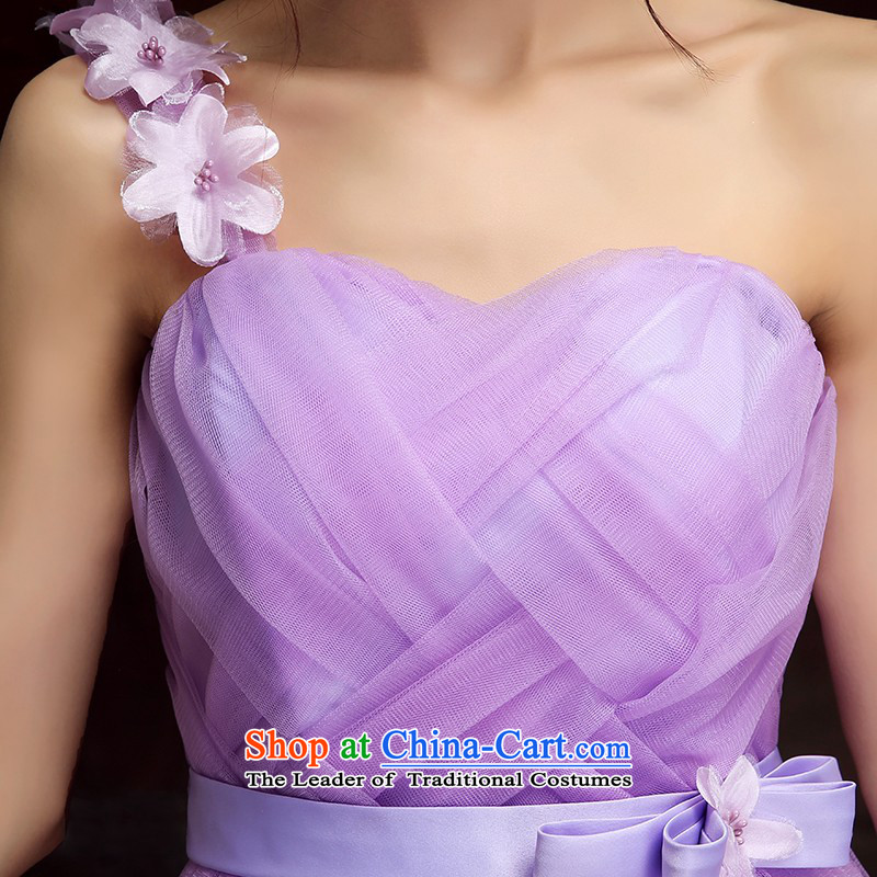 The annual session of 2015 New evening banquet dress petals shoulder back sweet dresses short skirts bridesmaid skirt long skirt evening dress short skirts, sister dress purple long skirt?XL115-145 catty