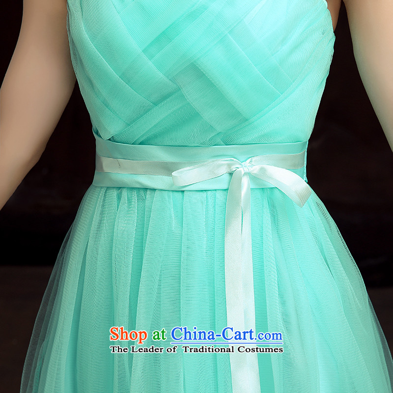 2015 new bridesmaid dress bride bows services long bridesmaid service, under the auspices of the show little sister skirt dress larger goddess evening slips green long skirt?XL