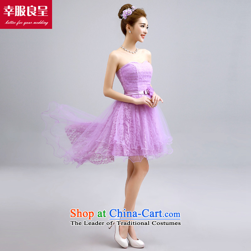 The privilege of serving-leung bridesmaid service, purple bridesmaid dress bridesmaid mission sister skirt small dress bridesmaids evening dresses F -606 chest straps to erase the smearing 2XL