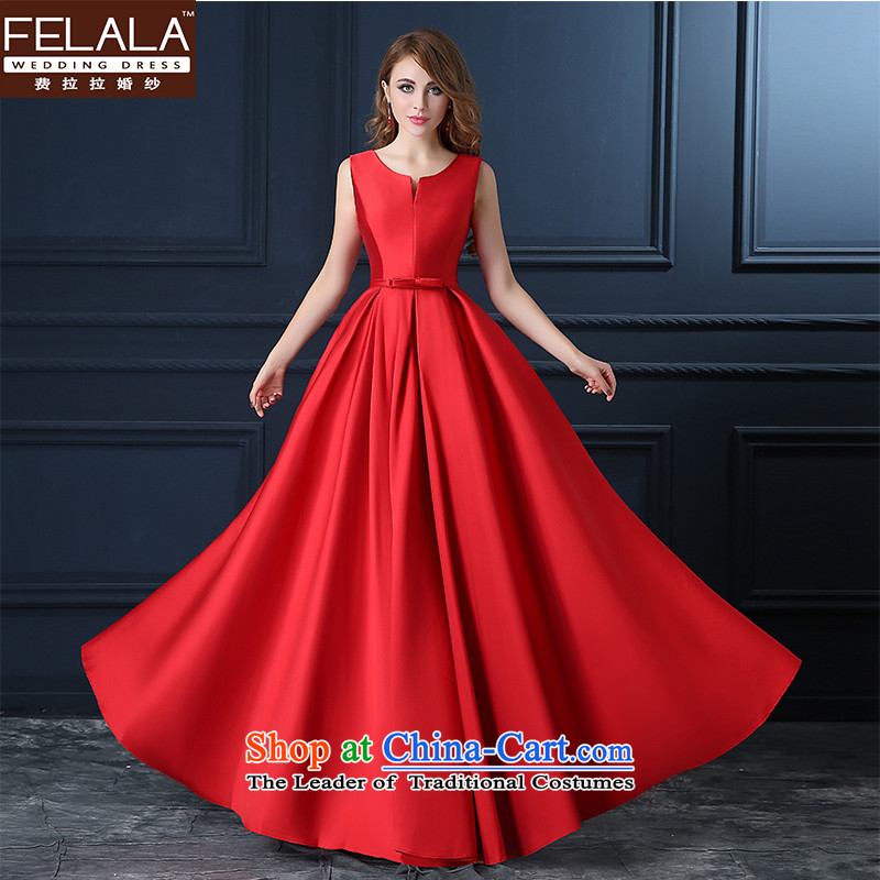 Ferrara autumn, Korean aristocratic temperament skirt Fashion Sau San V-Neck Solid Color bubble dress code red large wedding dress long�L