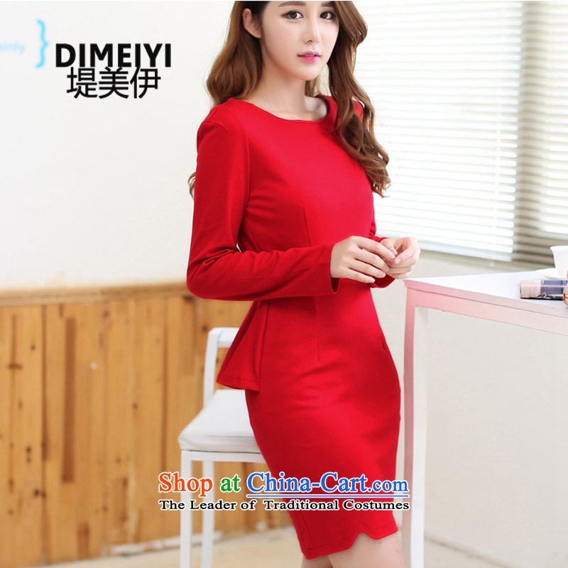Entities of the United States and Iraq 2015 autumn and winter new long-sleeved elegant forming the gift of the Sau San skirts services Korean married Red Dress Female Red?L