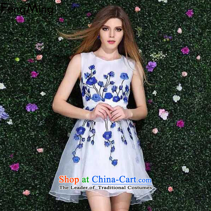 Hsbc Holdings plc Ming vest dress skirt autumn 2015 Skirt European style high-end station heavy industry Netting Embroidery bon bon skirt picture color XL
