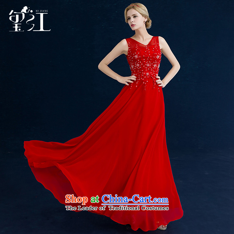 Jiang winter bows to seal the Korean version of the brides wedding dress Red 2-shoulder straps for larger evening dresses female chiffon Sau San video thin red tailored
