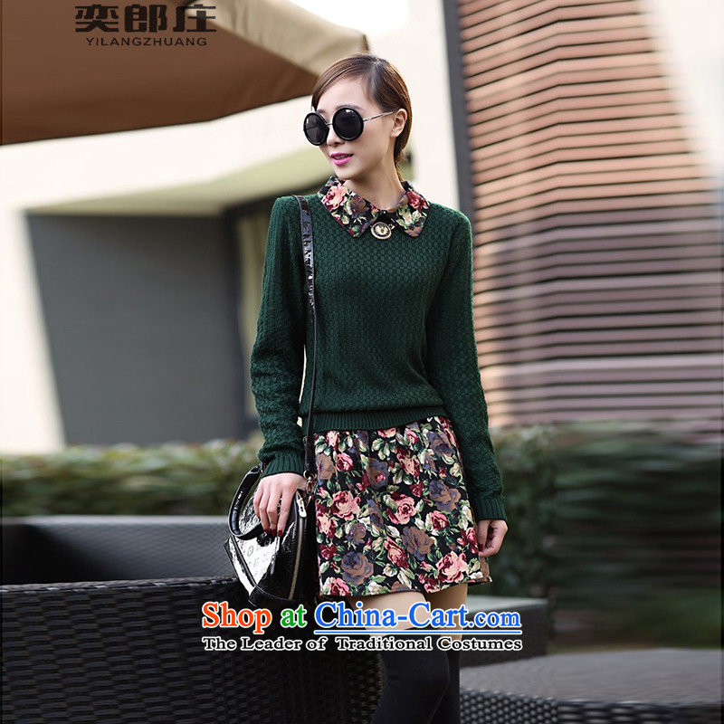 Eason Chan who fall 2015 a new collier, Korean Autumn and Winter Sweater Knit leave a long-sleeved two saika dresses female calculation dark green�S