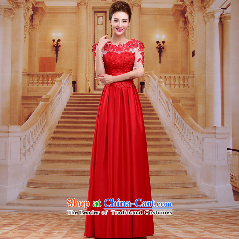 Tim hates makeup and 2015 New Red Dress long marriages bows services wedding dresses winter wedding dresses short-sleeved bride dinner hosted LF0 RED�XXL