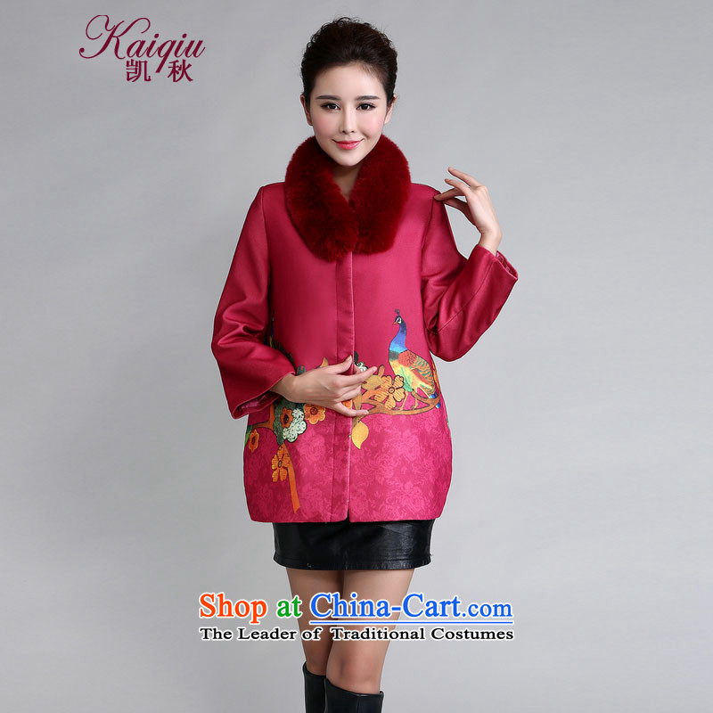 Kai Chiu�  2015 autumn and winter clothes for the Stamp Gross Gross? In Stylish coat mother older larger a deep red�L