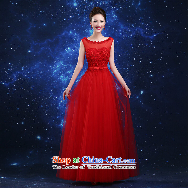 Pure Love bamboo yarn 2015 new red bride wedding dress long evening dresses evening drink service red shoulders Sau San dress red�L