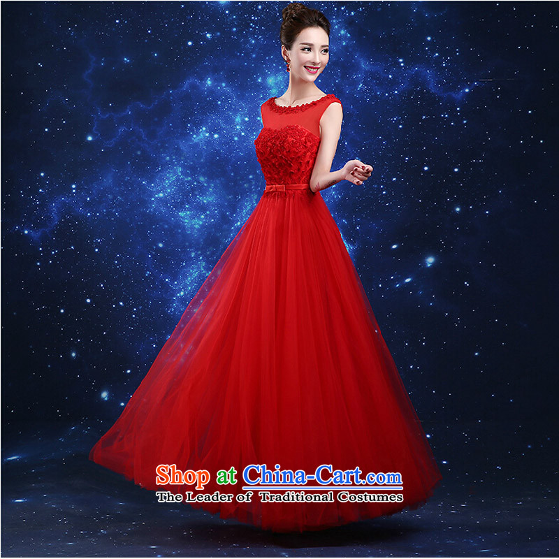 Pure Love bamboo yarn 2015 new red bride wedding dress long evening dresses evening drink service red shoulders red dress , L, pure Sau San love bamboo yarn , , , shopping on the Internet