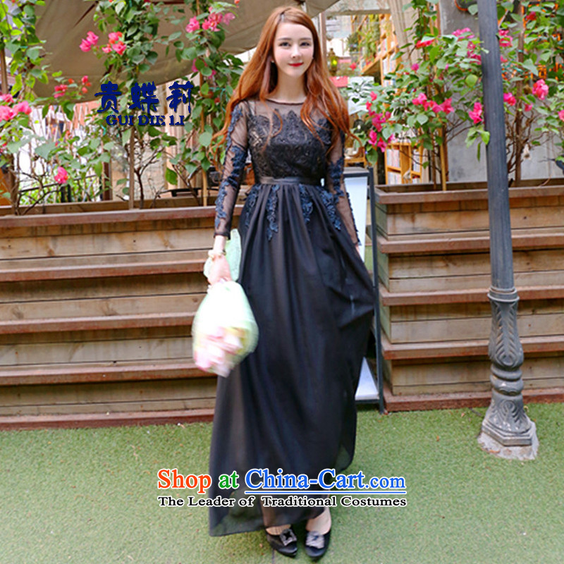 The butterfly li 2015 winter aristocratic embroidery on heavy industry, beaded dresses long-sleeved black skirt back dress?M