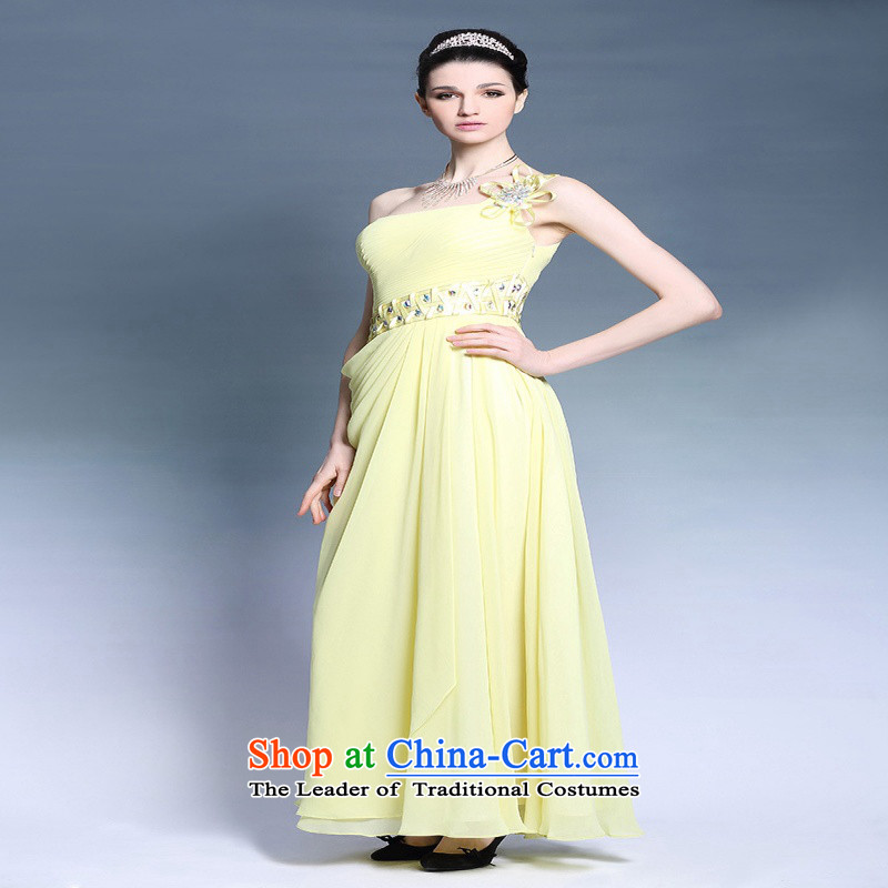 Doris Qi yellow chiffon dress dresses 2015 new Korean Sau San shoulder banquet evening dresses long autumn yellow?L