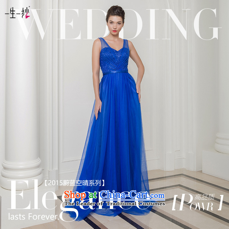 2015 new sapphire blue grasp shoulder under the auspices of the annual session of the folds performances Vehicle Exhibition bridesmaid evening dress long skirt?402401390??30 day blue 165/90A pre-sale