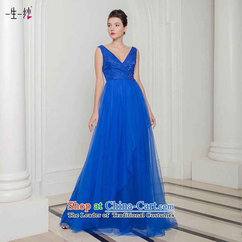 2015 new shoulders V-Neck Top Loin of annual performance under the auspices of the Car Show bridesmaid evening dress long skirt 402401391 blue tailor do not return Not Switch